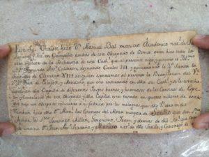 Imagen del documento hallado dentro del Cristo del Miserere de Sotillo de la Ribera